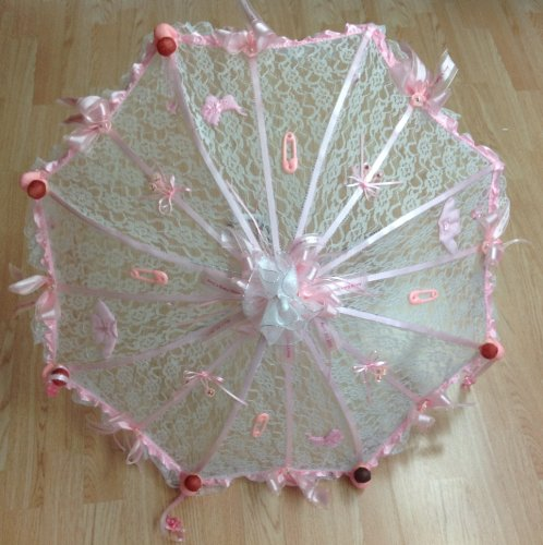 """36"""" Personalized White Lace Baby Shower Umbrella Pink Ribbons Rattles Pacifiers Please Email Personalization Information To Seller front-839001"""