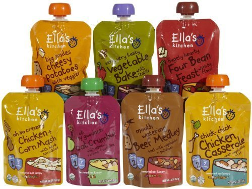 Ella'S Kitchen Organic Stage 2 Variety Pack Baby Food - 7 Pack (4.5 Oz Each) - Chicken Casserole(1); Beef Medley (1); Four Bean Feast (1); Cheesy Potatoes (1); Vegetable Bake (1); Chicken 'N' Corn Mash (1); Oat Crumble Dessert (1)