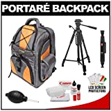 Portare' Multi-Use Laptop/iPad/Digital SLR Camera Backpack Case (Gray/Orange) with 57 Photo/Video Tripod + Cleaning Kit for Canon EOS 7D, 5D Mark II III, 60D, Rebel T3, T3i, T2i Digital SLR Cameras