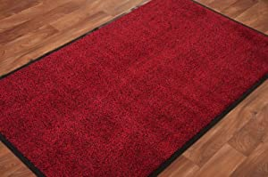 Red Black Mottled Non Slip Rubber Backed Entrance Back Door Hardwearing Washable Barrier Mat by The Rug House