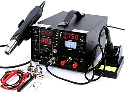 3-in-1 853D Rework Soldering Station Hot Air Gun Solder Iron DC Power Supply