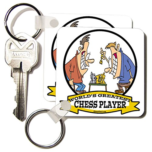 Dooni Designs Worlds Greatest Cartoons - Funny Worlds Greatest Chess Player Cartoon - Key Chains - set of 2 Key Chains (kc_103036_1)