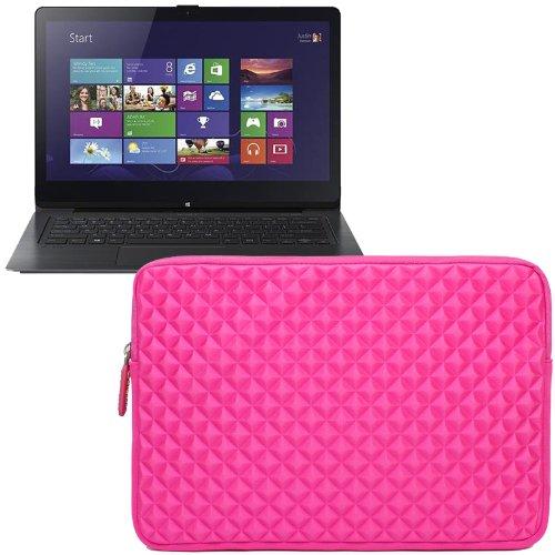 Evecase Diamond Foam Splash & Shock Resistant Portfolio Sleeve Case Bag For Sony Vaio Flip 14A Svf14N13Cxb / Vaio Fit Series Core I7 / I5 / I3 14-Inch Touchscreen Laptop - Hot Pink