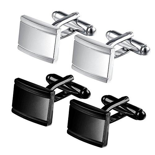 areke-stainless-steel-classic-tuxedo-shirt-cufflinks-for-men-wedding-business-black-silver-set-of-2-