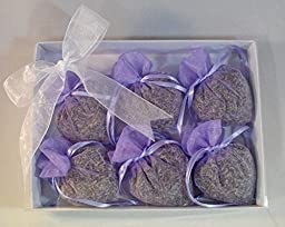 French Lavender Sachet Gift Set (6 pack) Lavender Filled Purple Heart Sachets for Drawers, Pillow, Nightstand, Closet, Car, Suitcase, Workout Bags Natural Lavender Fragrance Aromatherapy