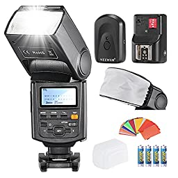 Neewer E-TTL II *High Speed Sync* 1/8000s HSS LCD Display Speedlite Flash Kit for Canon DSLR Cameras: ETTL Flash+Mini Flash Bounce Diffuser Cap+Color Gel Filters+Remote Flash Trigger+LR Batteries