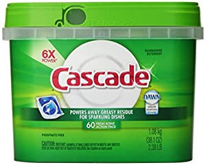 Cascade ActionPacs Dishwasher Detergent Fresh Scent 60 Count