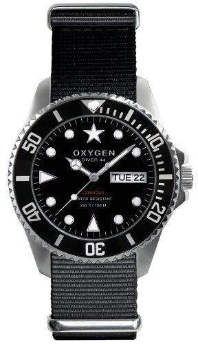 Oxygen - EX-D-MOB-44-BL - Diver - Montre Homme - Quartz Analogique - Cadran Noir - Bracelet Nylon Noir