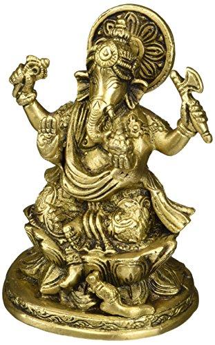 Cultural Hub  J92-600-0032 (Ganesh Vakratunda, Vinayak, Lambodar, Ganpati, Gajanan) Vintage Handmade/Handcrafted Religious Gift Solid Brass Statues / Sculptures of Hindu God Sri Ganesha Home Decor Antique Artifact