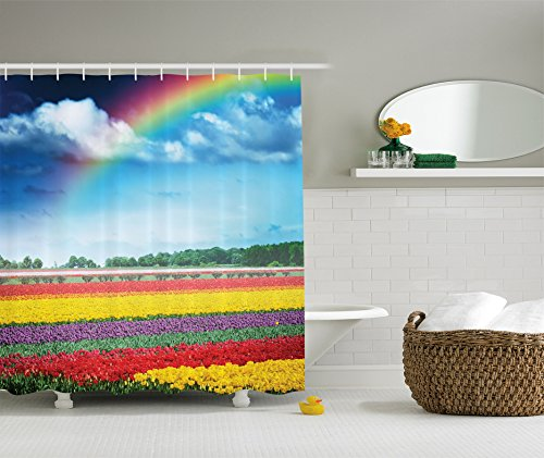 Ambesonne Country Home Decor Collection, Rainbow over Multicolor Tulip Field Polyester Fabric Bathroom Shower Curtain