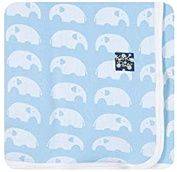 KicKee Pants Baby Essentials Swaddling Blanket Boys, Pond Elephant, One Size