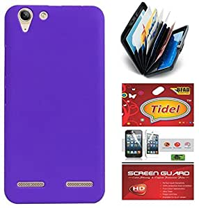Tidel Purple Stylish Rubberized Plastic Back Cover For Lenovo Vibe K5 With Credit Card & Cash Holder and Tidel screen guard