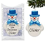 Snowman - Christmas Tree Decorations - Personalised Gifts - Handmade - Blue Baubles - Truly for You