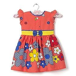 Floop Baby Girls Stichted cotton Frocks(F-1-22_Orange)