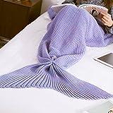 MAGF お昼寝毛布 可愛いひざ掛け 人魚姫に変身 冷房対策にも最適 着る毛布 柔らかい 防寒 暖かい さまざまな色 (夢まぼろし紫)