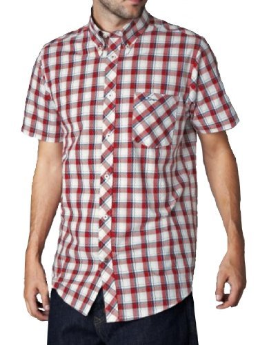 Ben Sherman Mens MC1222 Union Easy Fit Gingham Check Shirt True Red Small