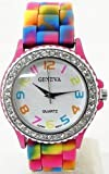 Rainbow Geneva Crystal Rhinestone Watch Silicone Jelly Link Band