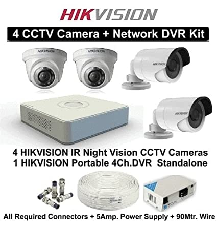 Hikvision-DS-7104HGHI-F1-4CH-Dvr,-2(DS-2CE56COT-IR)-Dome,-2(DS-2CE16COT-IR-)-Bullet-Cameras-(With-Accessoires)