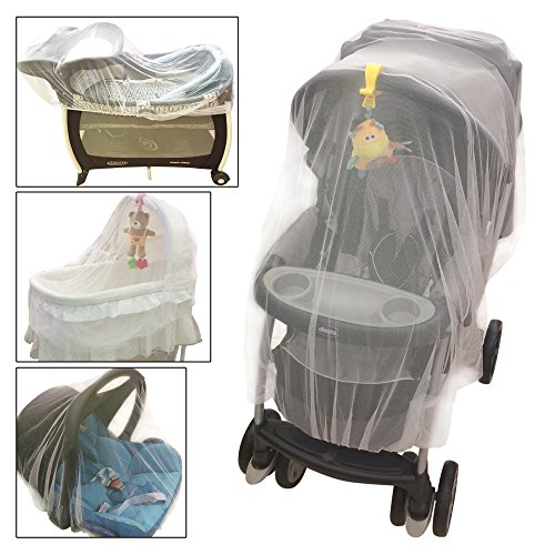 Crocnfrog Mosquito Net for Strollers, Carriers, Cradles, Car Seats. Designed For Cribs, Bassinets, Most Pack'n'Plays & Playpens. Made of White Durable Insect Netting, Free e-Book included!