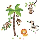 51cPaDqQtHL. SL160  Jungle Monkeys and Tree Giant Baby/Nursery Wall Sticker Decals for Boys and Girls