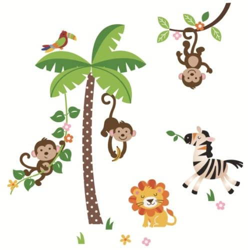 Jungle Monkeys and Tree Giant Baby/Nursery Wall Sticker Decals for Boys and Girls