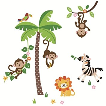 Jungle Monkeys and Tree Giant Baby/Nursery Wall Sticker Decals