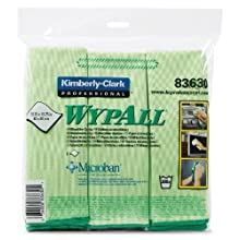"Kimberly-Clark Wypall 83630 Microfiber Cloths with Microban Protection, 15-3/4"" Length x 15-3/4"" Width, Green (4 Packs of 6)"
