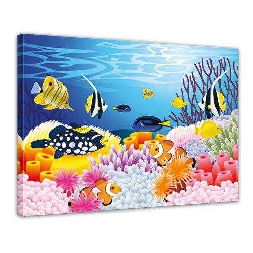 "Bilderdepot24 Leinwandbild ""Kinderbild - Leben im Meer - Cartoon"" - 70x50 cm 1 teilig - fertig gerahmt, direkt vom Hersteller"