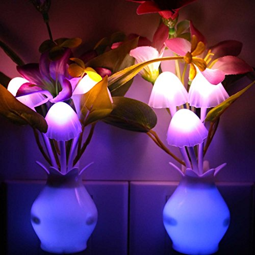 Taozi 2PCS Kids Night light Color Changing Flower Plug In LED Mushroom Nightlight Wall Lights ...