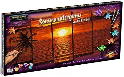 Schipper 609450728 - Malen nach Zahlen, Sonnenuntergang in der Karibik, Polyptychon 132 x 72 cm, bunt
