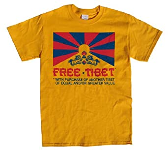 Rocket Factory Free Tibet T-shirt- With Purchase of a Tibet of equal or Lesser Value-Gold-Small