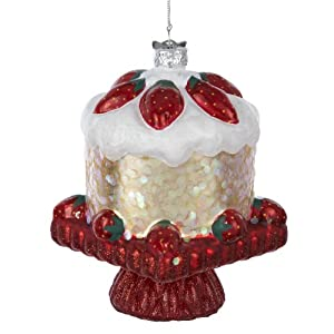 Noble Gems Glass Strawberry Shortcake Ornament, 4-Inch