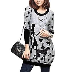 Allegra K Women Fall Winter Dog and Lady Pattern Tunic Knit Top by Allegra K