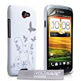Yousave Accessories HTC One S Case White and Silver Butterfly Hard Cover With Screen Protector ~ Yousave Accessories