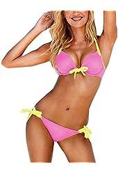 Womens Push up Padded Swimsuit Swimwear Bathing Summer Suit Bikini Set (Small)