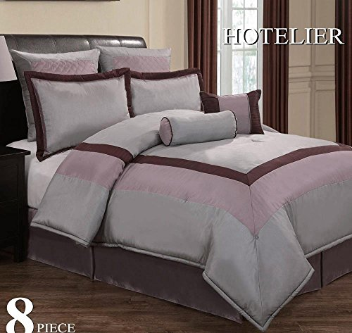 12Pc Luxury Bedding Set- Hotel Plum/Grey/Lavender - Silver-Grey - Full front-1054961