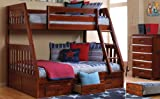 Merlot Twin Over Full Bunk with Trundle and 5 Drawer Chest