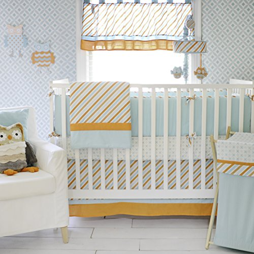 My Baby Sam Penny Lane Crib Bumper, Orange/Aqua - 1