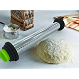 Chef's Organic Gadgets Stainless Steel Rolling Pin with Adjustable and Removable Discs : Freezer & Dishwasher Safe : Roll Dough to 3 Precise Thicknesses