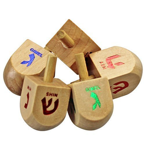 The Dreidel Game! Classic Colored Wooden Dreidels, 25 Pack (Instructions Included)