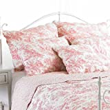 Paoletti Canterbury Tales Toile De Jouy Cushion Cover WhitePink 45 x 45 Cm