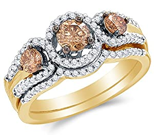 Size 10 - 14K Yellow Gold Chocolate Brown & White Round Diamond Halo Circle Bridal Engagement Ring & Matching Wedding Band Two Piece Set - Prong Set Three Stone Center Setting Shape with Channel Set Side Stones - Curved Notched Band (1.01 cttw.)