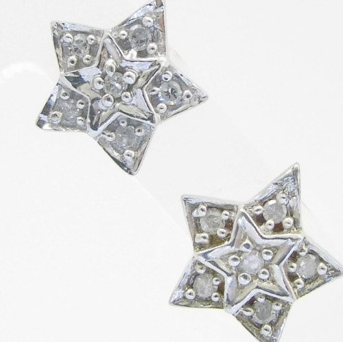 Mens 925 Sterling Silver earrings fancy stud hoops huggie ball fashion dangle white dual star pave earrings