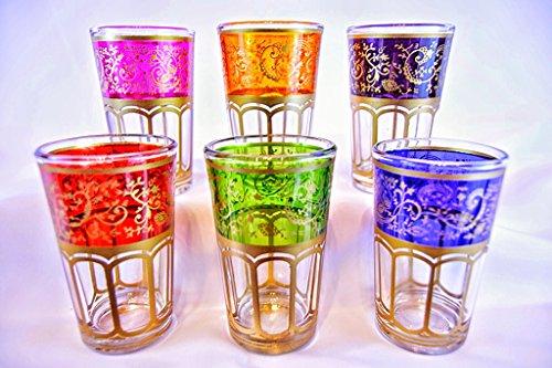 New Moroccan Tea Glasses - Tangier - Set Of 6 - Sophisticated Gold Design Moroccan Glasses - 100% Mo...