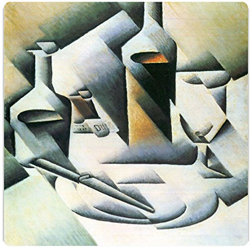 """Rikki Knighttm Juan Gris Art Still Life With Bottles And Knives Design On 8"""" X 8"""" High Definition Museum Quality Almunimum Print - Metal Art Print - With Floating Block Wall Hangers (Proudly Made In The Usa)"""