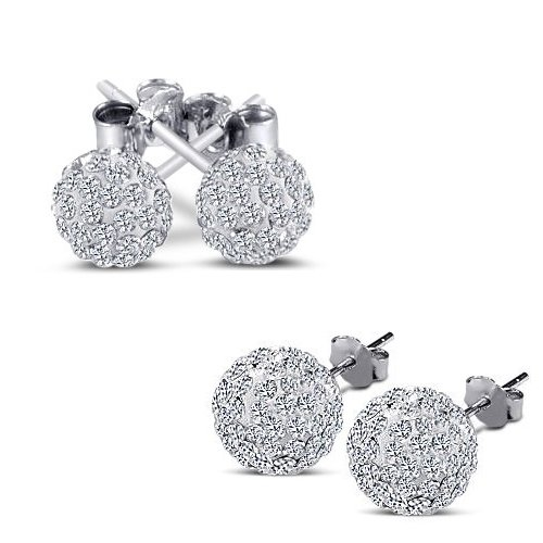 Authentic 925 Sterling Silver 6 MM Each Cz Bead Ball 2.00 Carat Round Diamond Cubic Zirconia Stud Earrings. 1.00 Carat Each