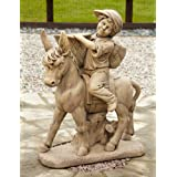 Large Garden Statues - Boy & Donkey Stone Figurine Ornament