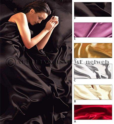 Completo MATRIMONIALE RASO set lenzuola sopra sotto con angoli 2 fodere cuscini 6 colori (GRIGIO (C))