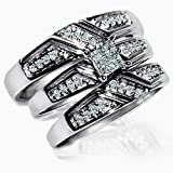 Princess cut real Diamond Trio set his and her rings 3 piece 0.33ct wedding ring