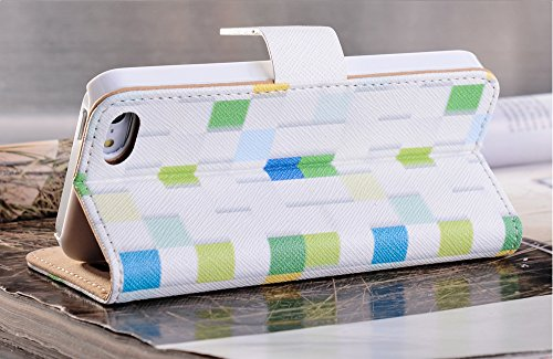 Mylife (Tm) Splashed White And Colorful Tile - Retro Design - Textured Koskin Faux Leather (Card And Id Holder + Magnetic Detachable Closing) Slim Wallet For Iphone 5/5S (5G) 5Th Generation Itouch Smartphone By Apple (External Rugged Synthetic Leather Wit